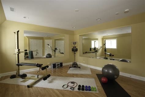 basement exercise room traditional home chicago