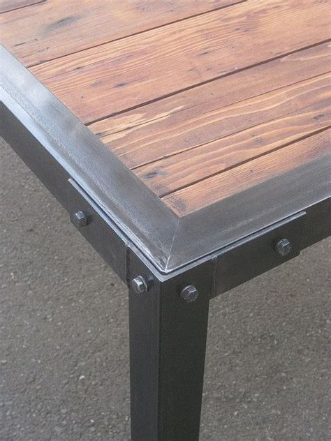 wood and metal table slat dining closeup wood insert patio table and metals