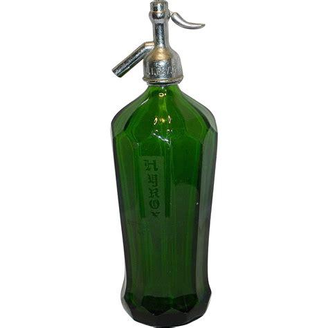 vintage green glass l vintage hyrox ribbed paneled green glass seltzer bottle