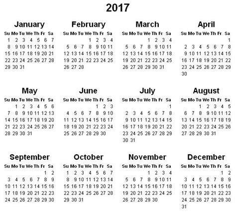 Calendar For Year 2017 Printable Printable Yearly Calendar 2017 171 Printable Hub