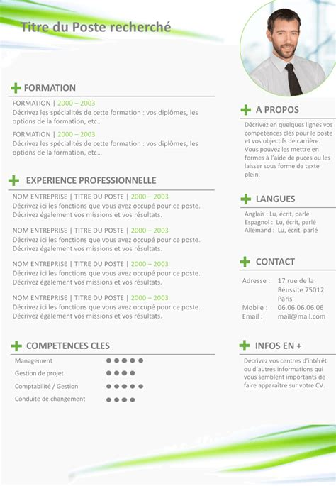 Faire Un Cv En Francais by Exemple De Cv Color 233 Gratuit 224 T 233 L 233 Charger