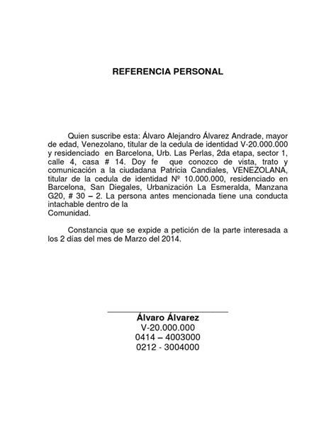 carta de referencia personal al banco referencia personal