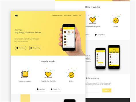 design app presentation flat mobile app landing page free by design hooks dribbble