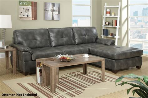 Grey Sectional Sofa by Poundex Randi F7408 Grey Leather Sectional Sofa A