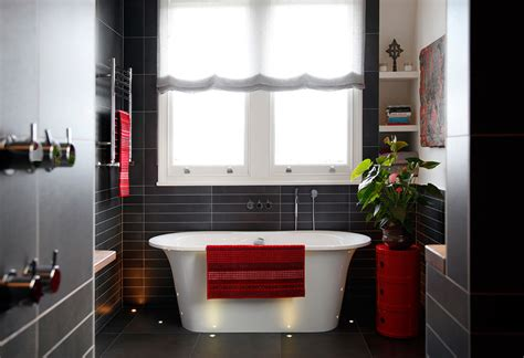 red grey bathroom house tour beautiful modern black tile bath red accents