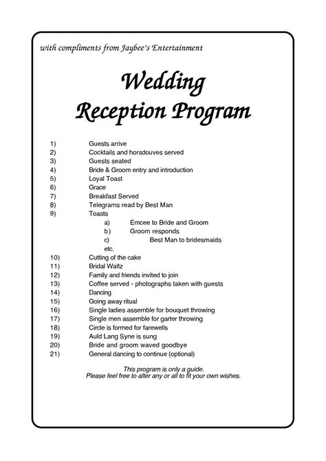 Reception Program Template 6 Best Images Of Reception Agenda Printable Wedding Reception Program Template Wedding