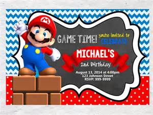 mario brothers birthday invitation chalkboard chevron