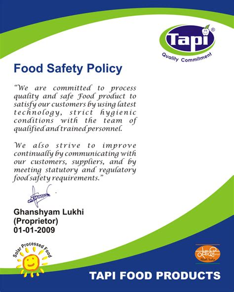Food Safety Policy Template quality