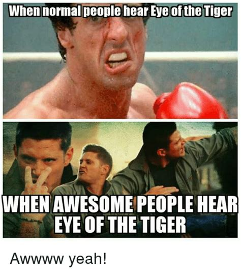 Eye Of The Tiger Meme - when normal people hear eye of the tiger whenawesome