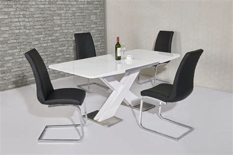 120cm White High Gloss Dining Table And 4 Black Chairs Ebay Black Dining Table And 4 Chairs