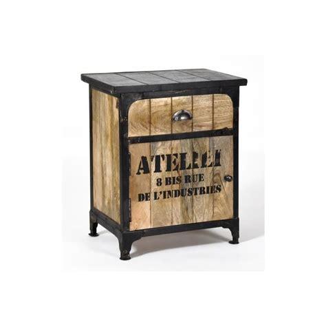 Charmant Table De Nuit Pas Cher Conforama #7: Mobilier-maison-table-de-chevet-industriel.jpg