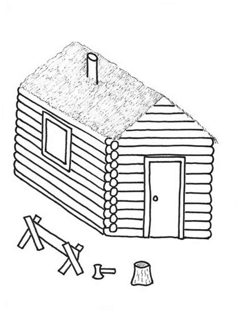 free printable log cabin coloring page for kids