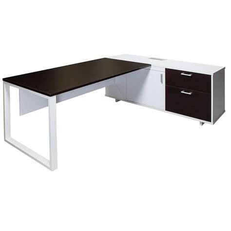 L Shaped Desk With Right Return Executive L Shape Melamine Desk With Right Return Mocha