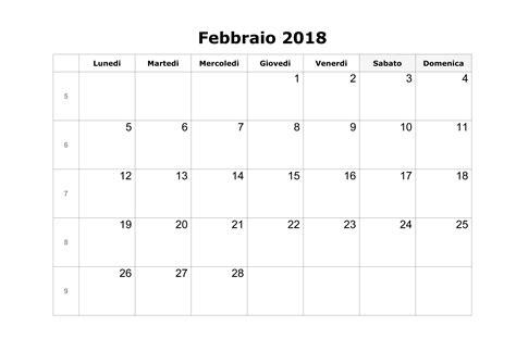 Calendario 2018 Febbraio Calendario Febbraio 2018