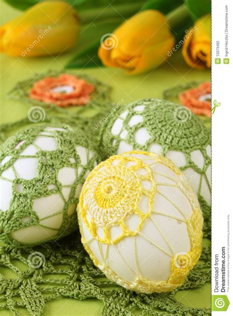 yellow egg pattern yellow and green crochet easter eggs stock photo image
