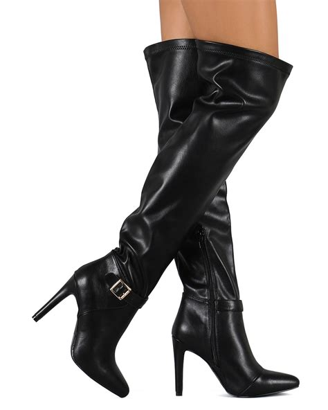 new qupid prospect 06 leatherette pointy toe thigh
