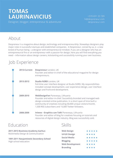 Free Resume Template by 40 Resume Template Designs Freecreatives