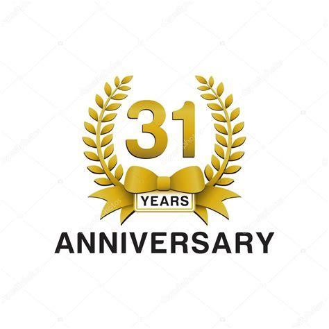 31st anniversary golden wreath logo ? Stock Vector
