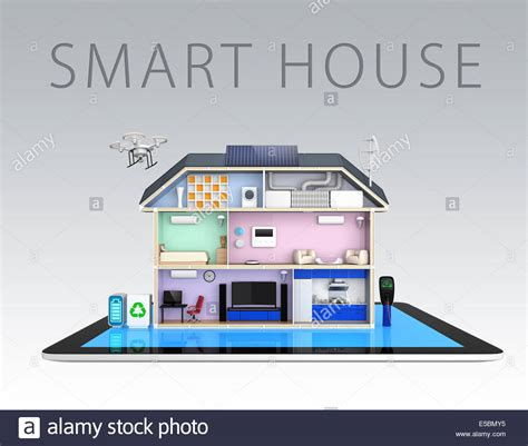 smart house smart house with energy efficient appliances on tablet pc
