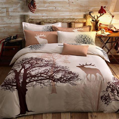 100 Cotton Bedding Set Deer Tree Printing Single Queen Deer Bed Sets