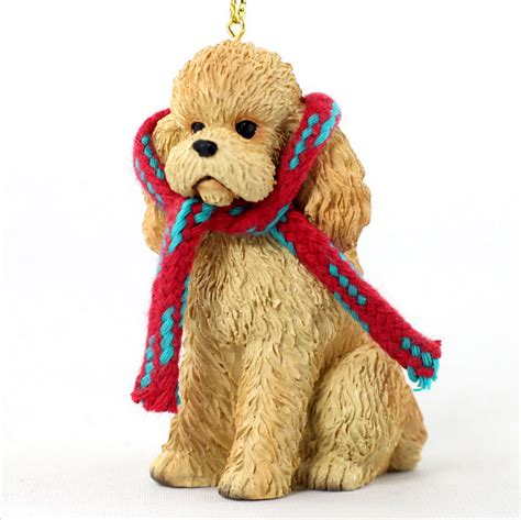 poodle dog christmas ornament scarf figurine apricot sport