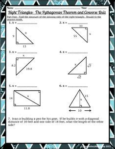 pythagorean theorem worksheet answers  pythagorean