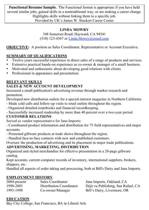 Sle Of Functional Resume With No Experience sales resume exles for free formtemplate
