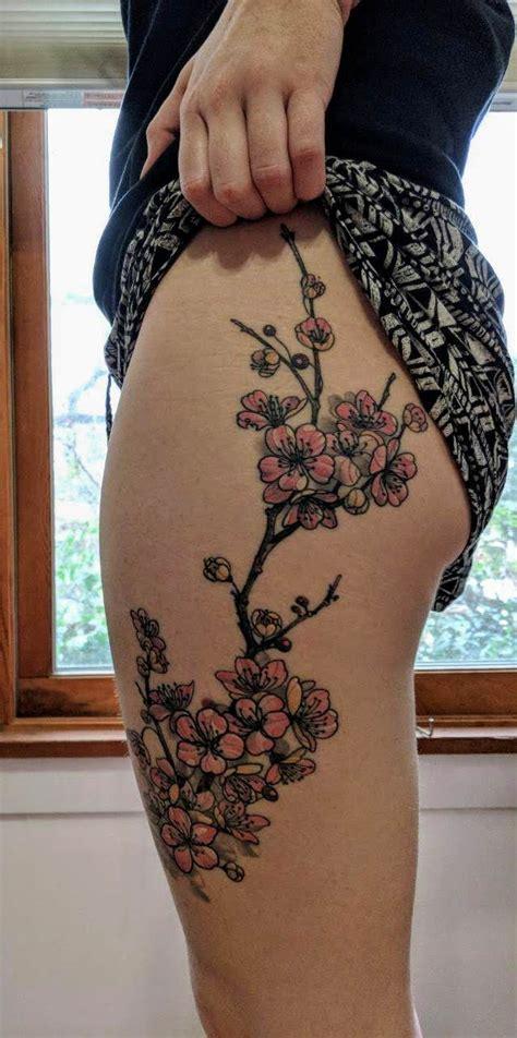 Cherry Blossom Tattoo By Cecilia Wingate Seven Son Tattoo Cherry Blossom Leg 15 Cherry Blossom Designs