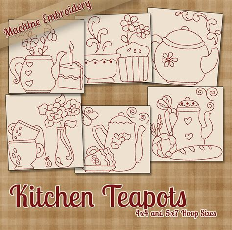 kitchen patterns and designs kitchen teapots redwork machine embroidery patterns designs