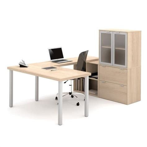 Bestar I3 U Shaped Desk In Northern Maple 150867 38 U Shaped Desks Home Office