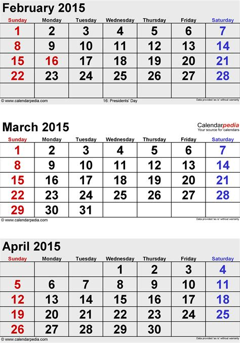 calendar layout march 2015 april 2015 calendars for word excel pdf