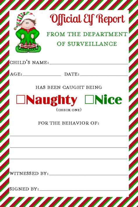 printable elf on the shelf report card artfire com
