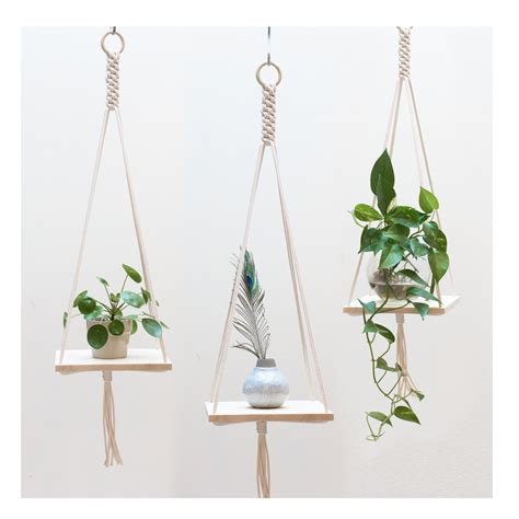 Hanging Macrame Plant Holder - macrame plant hanger macrame shelf hanging plant holder