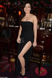 daisy lowe almost busts out of her strapless dress at