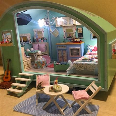 mini doll houses diy wooden dollhouse miniature kit doll house led music