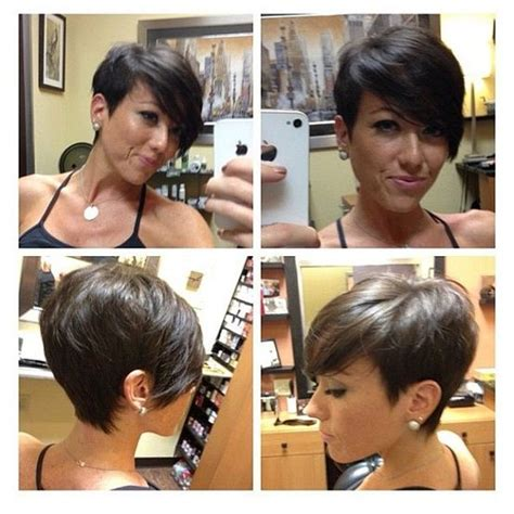 pixie cut all angles short hair cut all angles long bangs hair color and