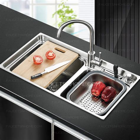 kitchen sink accessories kubus polished stainless practical double sinks nickel brushed stainless steel
