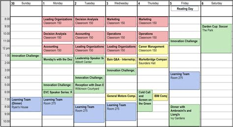 Of Iowa Mba Pm Schedule by Weekly Schedule Darden Schedule Darden Mba Student