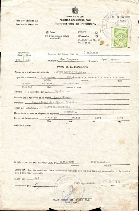 Cuba Birth Records Lot Detail Martin Dihigo Republica De Cuba Official