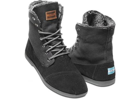 tom boots mens toms canvas suede mens utility boots in black for lyst