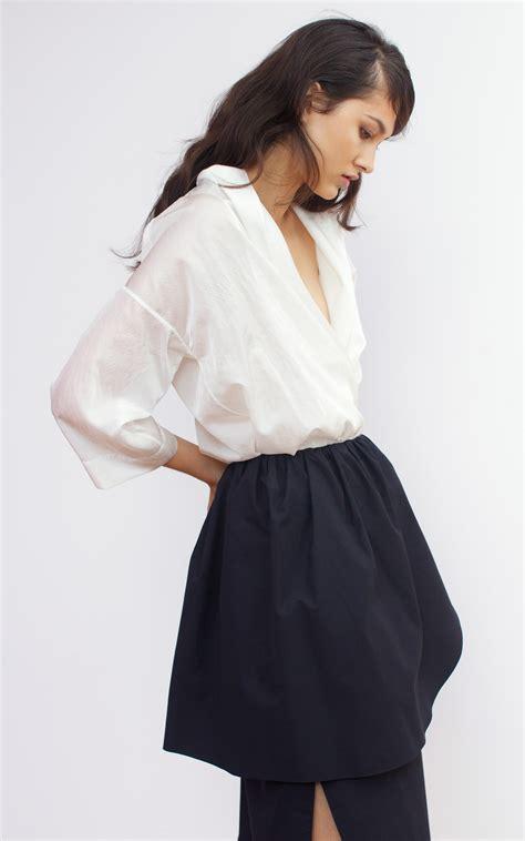 Ruffle Shawl Collar Wrap Shirt lyst isa arfen shawl collar wrap shirt in white