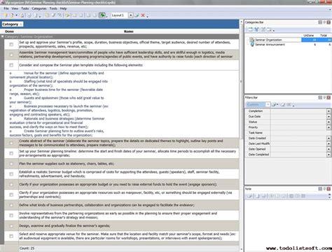 seminar planning checklist to do list organizer