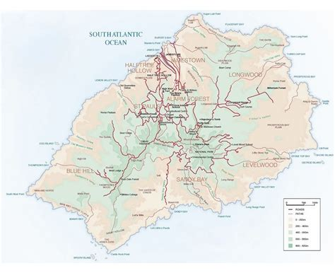 map of st island maps of st helena detailed map of st helena island in