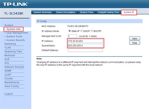 Tp Link Switch Managed T1600g 52ps how to change the ip address of the smart and managed