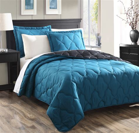 quilt or comforter modern and elegant bedroom with dark teal bedding atzine com