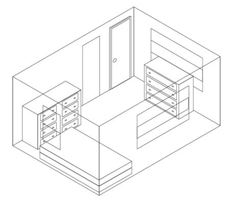 how to draw 3d room