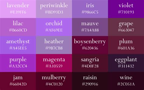 purple color names shades of purple color chart search