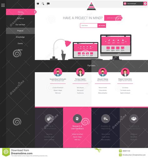 trendy templates flat website template homepage portfolio about contact