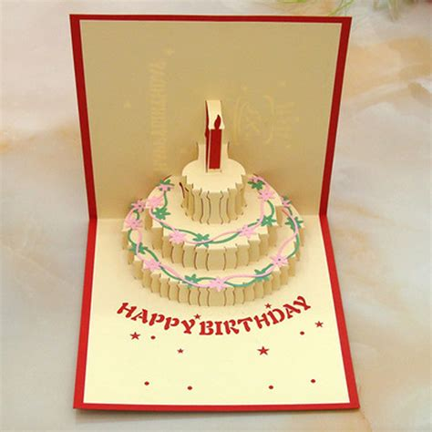 3 Candles Birthday Cake 3d Gift Card Haiku Kartu Ucapan Ulang Tahun happy birthday cake candle greeting card magic 3d handmade pop up big ben ebay