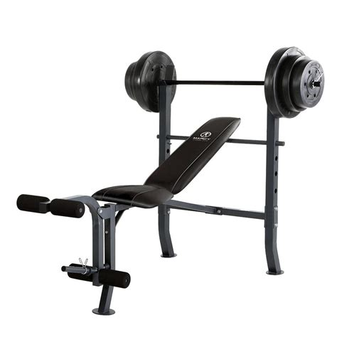 marcy standard bench w 100 lb weight set home workout